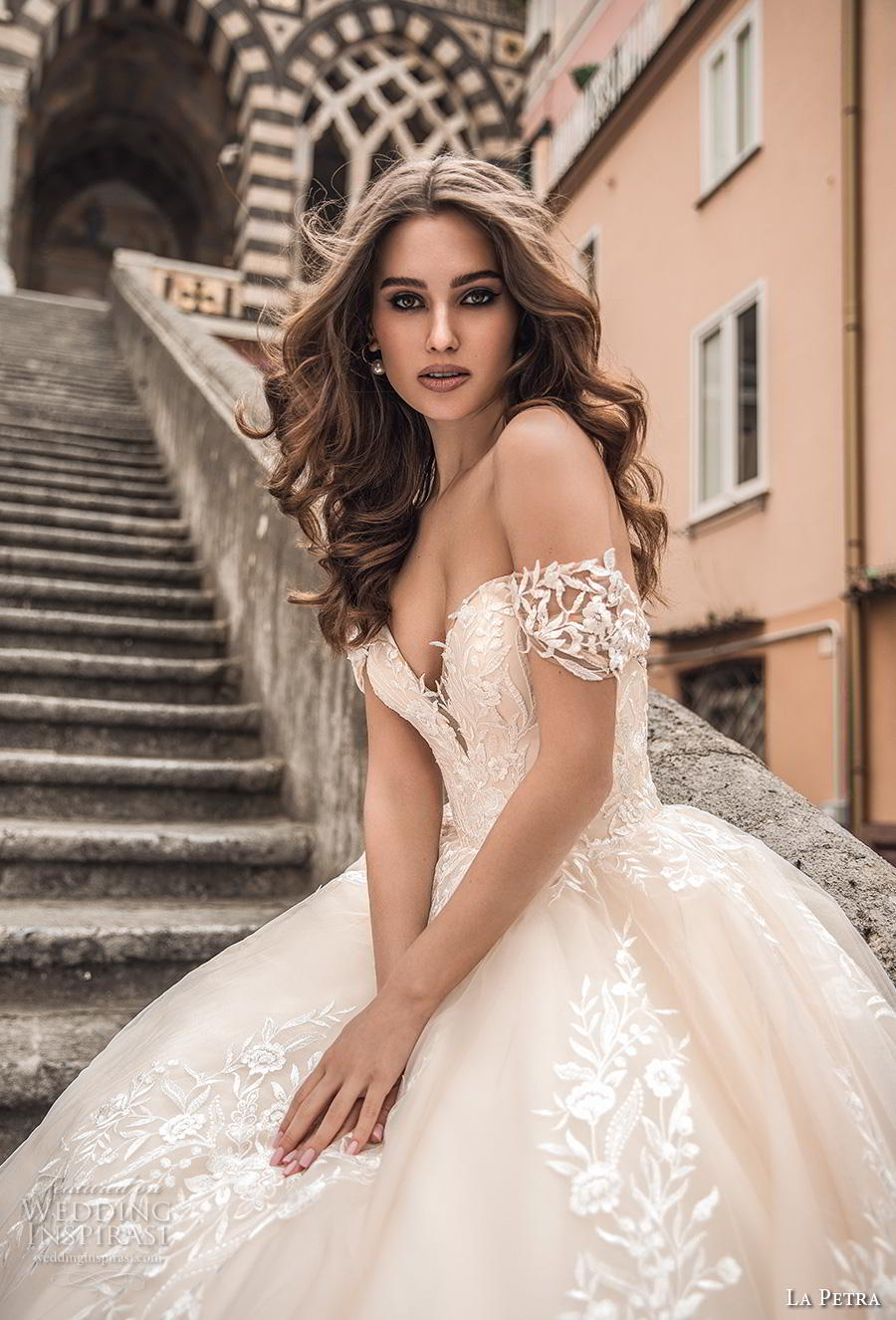 la petra 2019 bridal off the shoulder deep plunging sweetheart neckline full embellishment romantic princess blush ball gown a  line wedding dress royal train (1) zv