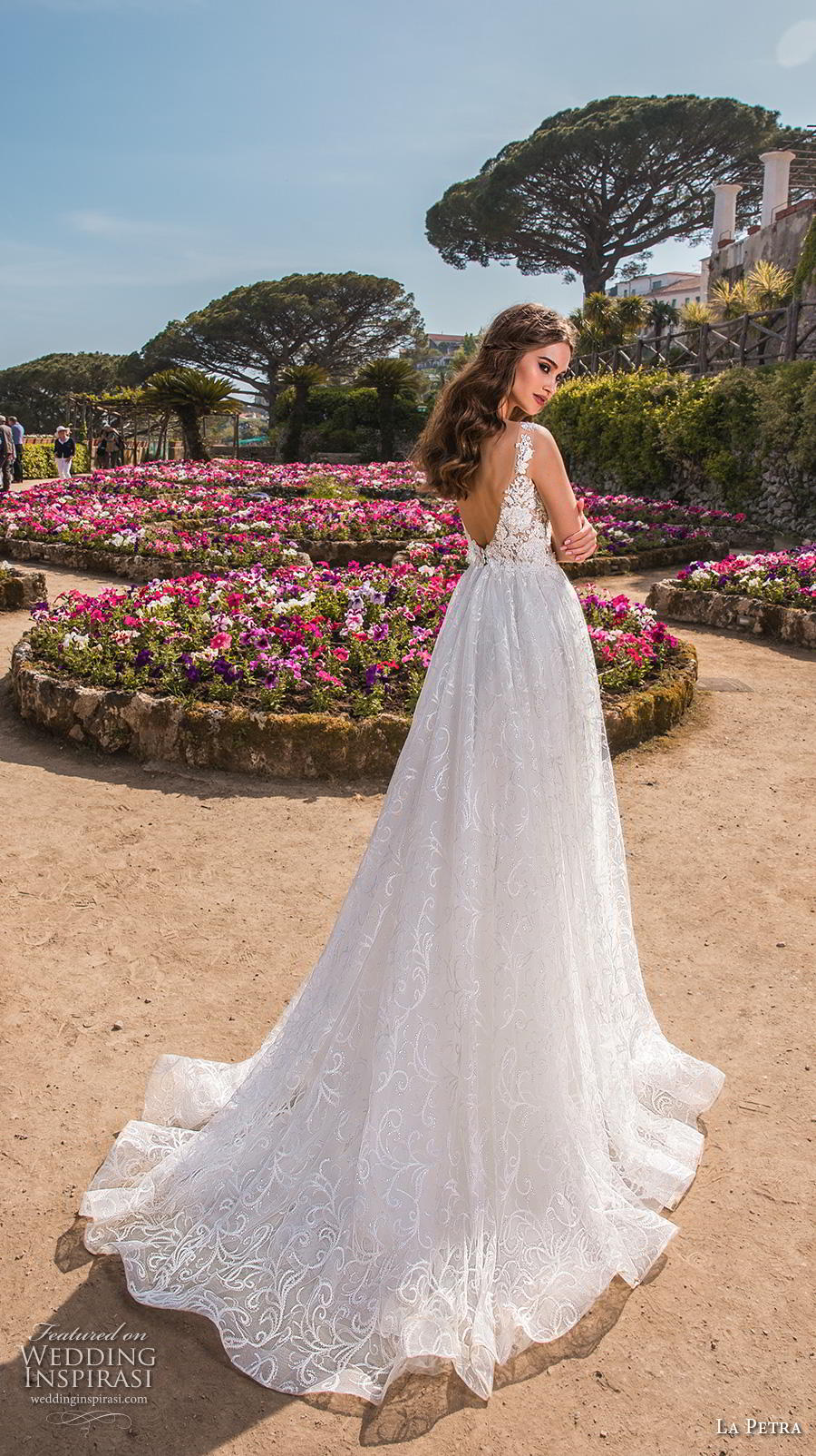 la petra 2019 bridal sleeveless deep plunging sweetheart neckline full embellishment romantic soft a  line wedding dress open v back chapel train (2) bv