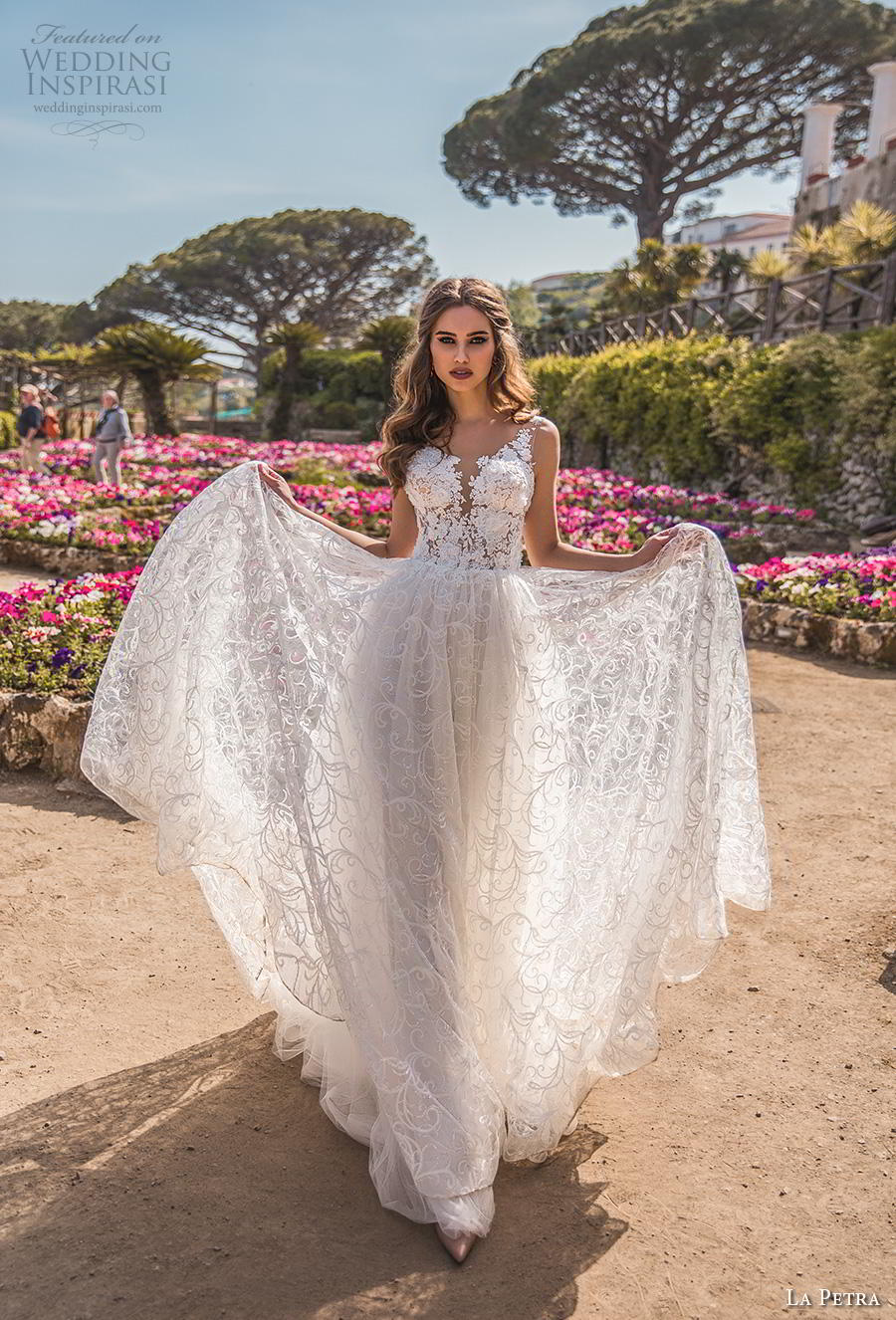 la petra 2019 bridal sleeveless deep plunging sweetheart neckline full embellishment romantic soft a  line wedding dress open v back chapel train (2) mv