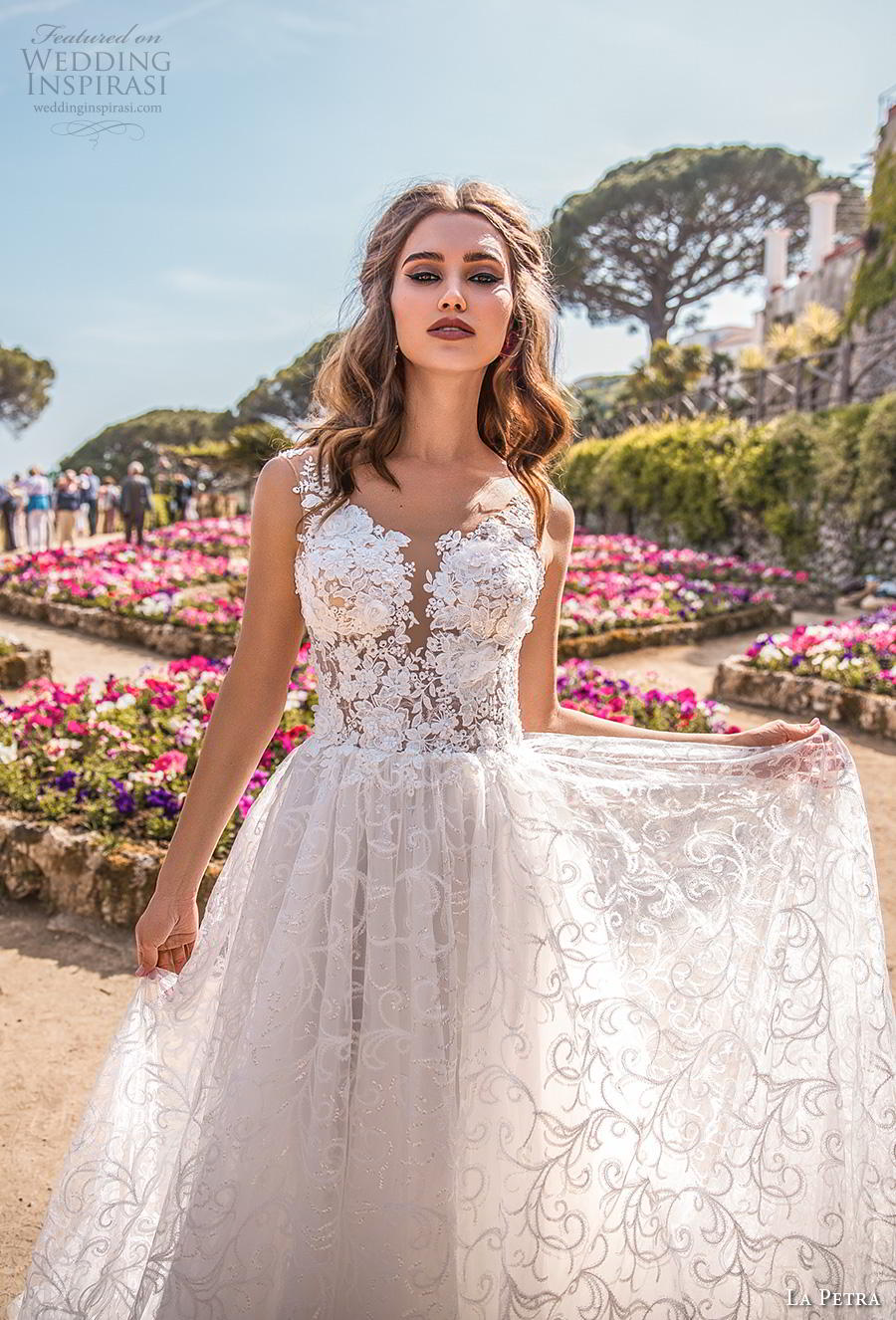 la petra 2019 bridal sleeveless deep plunging sweetheart neckline full embellishment romantic soft a  line wedding dress open v back chapel train (2) zv
