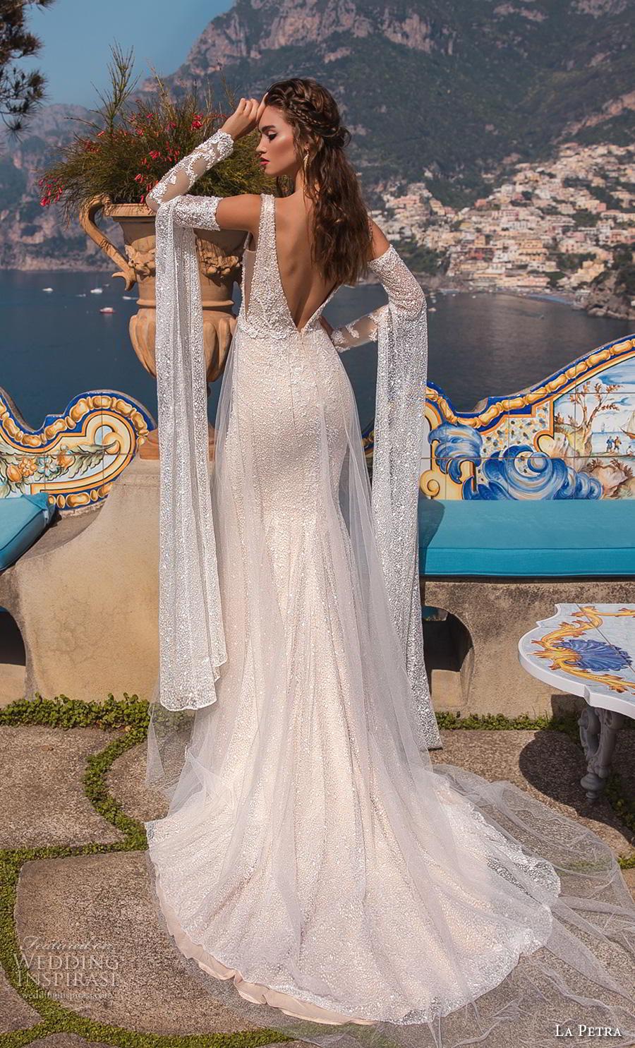 la petra 2019 bridal sleeveless deep plunging v neck full embellishment glitzy glamorous fit and flare wedding dress open v back chapel train (3) bv