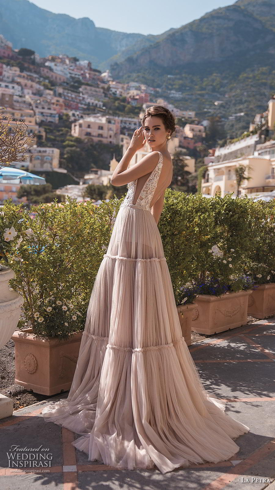 la petra 2019 bridal sleeveless deep plunging v neck heavily embellished bodice open side romantic blush soft a  line wedding dress backless v back chapel train (10) bv