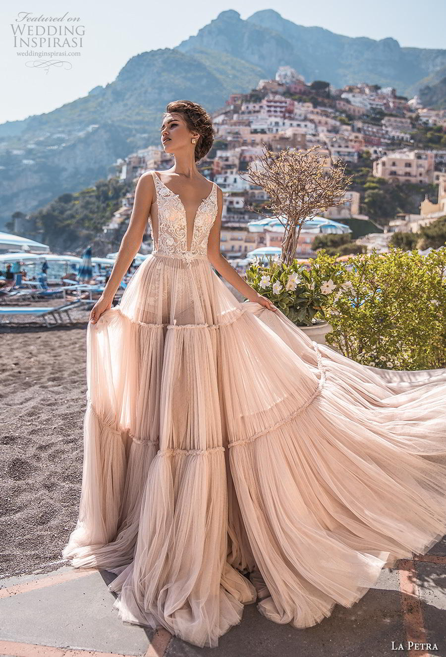 la petra 2019 bridal sleeveless deep plunging v neck heavily embellished bodice open side romantic blush soft a  line wedding dress backless v back chapel train (10) mv