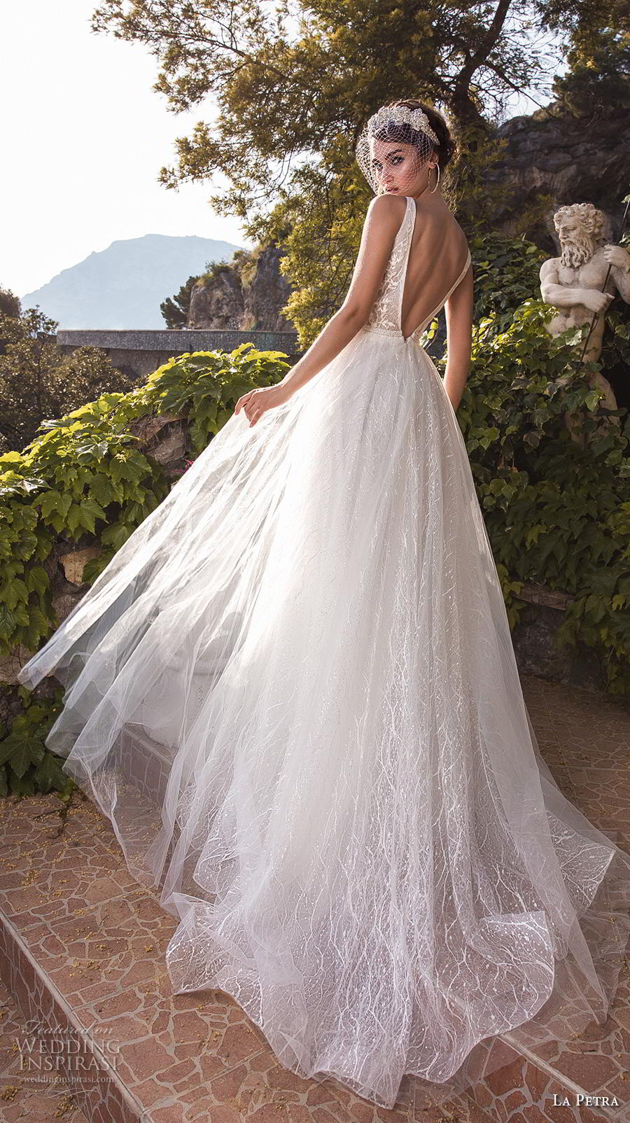 la petra 2019 bridal sleeveless deep v neck heavily embellished bodice romantic a  line wedding dress backless v back chapel train (13) bv
