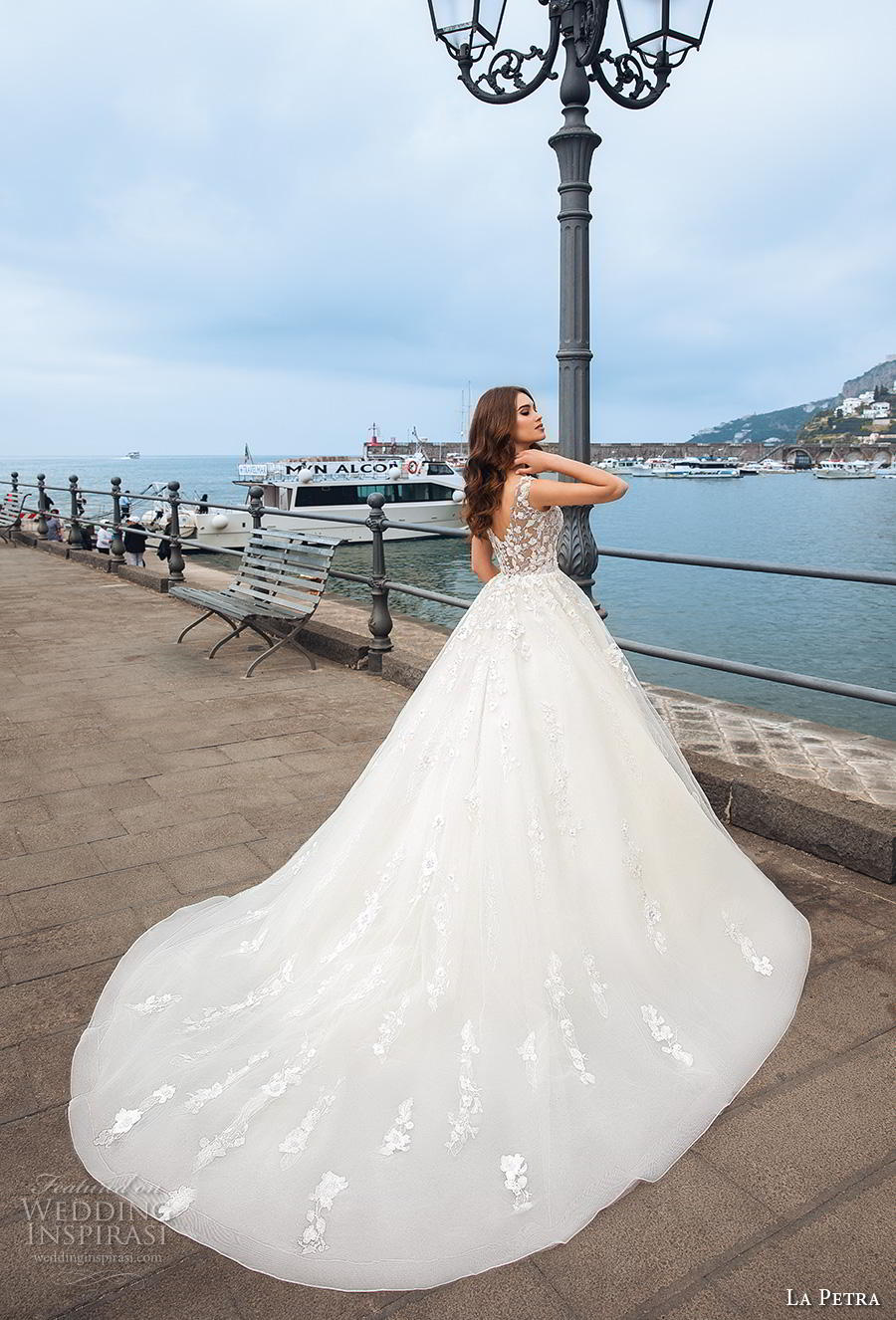 la petra 2019 bridal sleeveless v neck heavily embellished bodice ball gown a  line wedding dress v back chapel train (16) bv