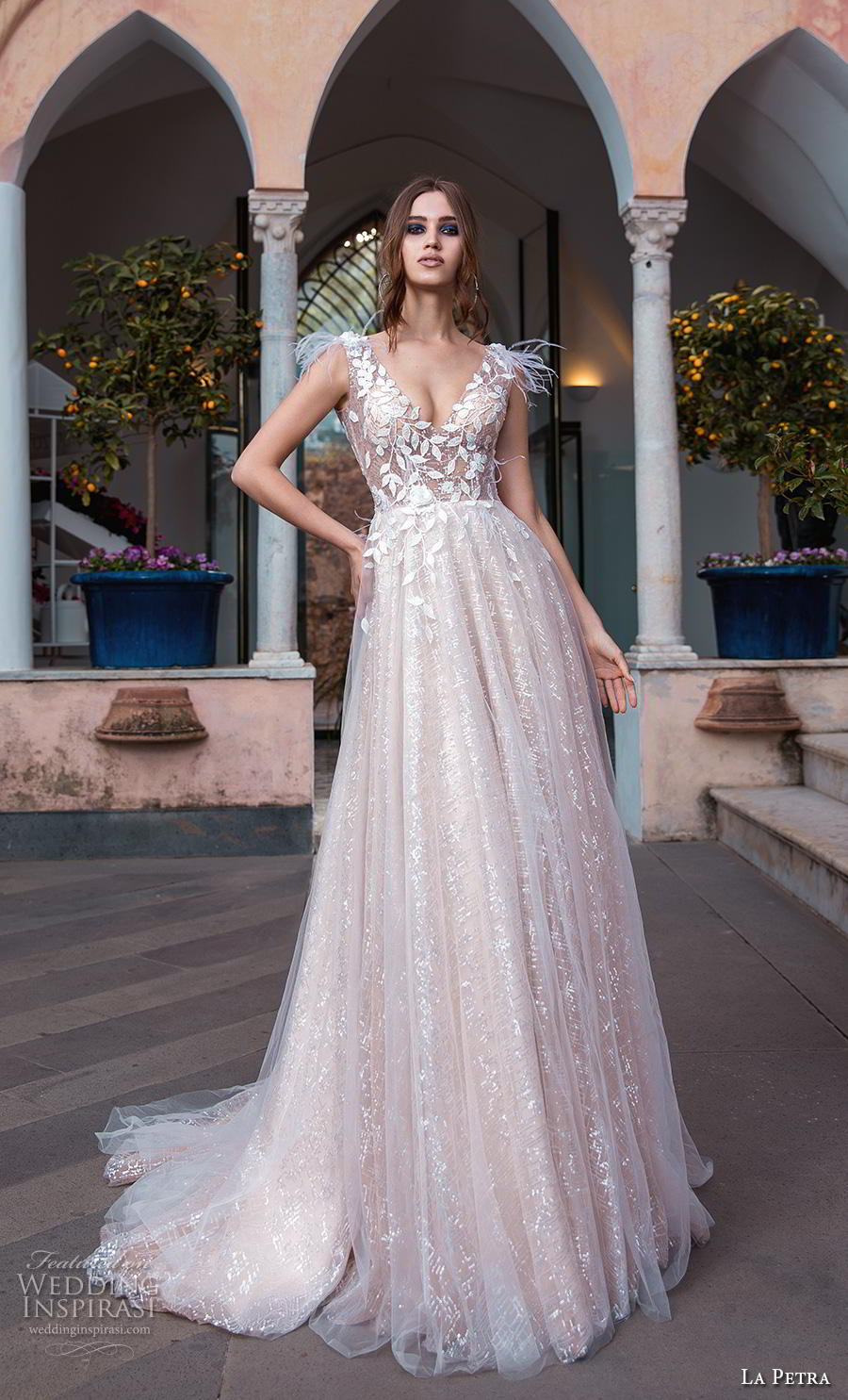 la petra 2019 bridal sleeveless v neck heavily embellished bodice romantic blush a  line wedding dress v back chapel train (4) mv