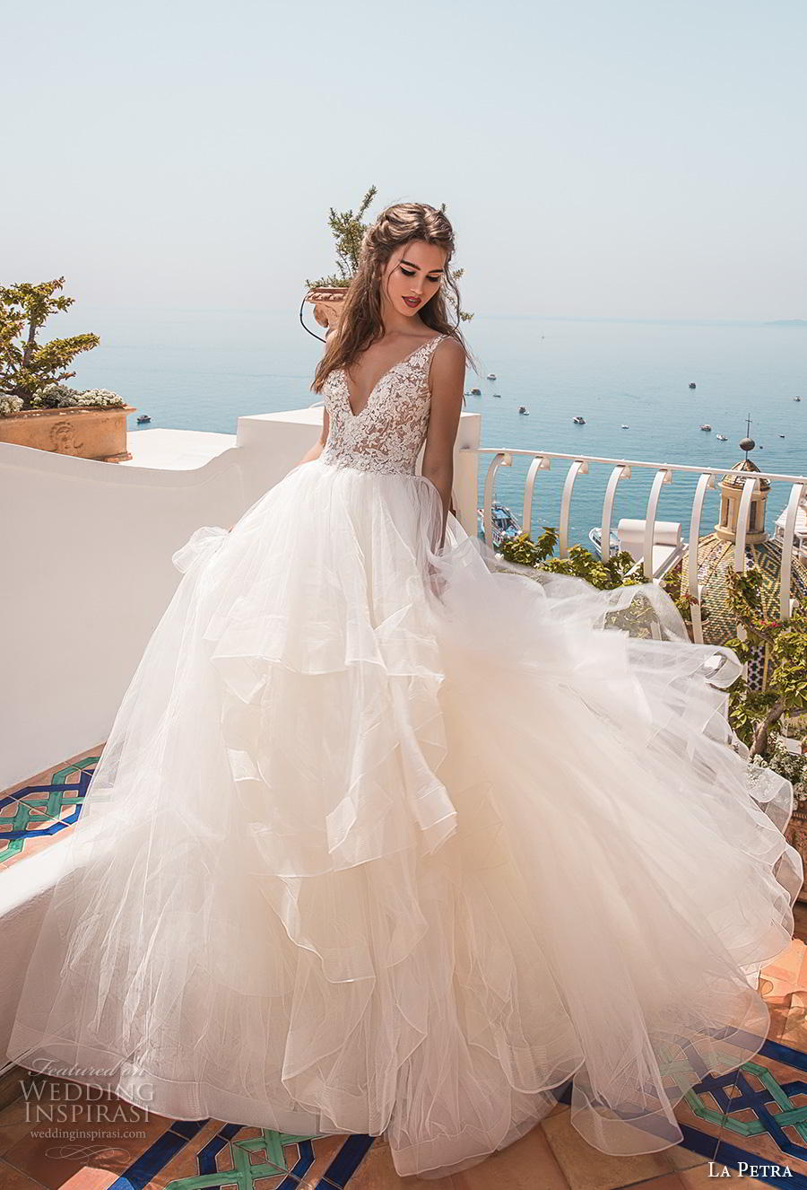 la petra 2019 bridal sleeveless v neck heavily embellished bodice tiered skirt romantic ball gown a  line wedding dress backless scoop back chapel train (9) mv
