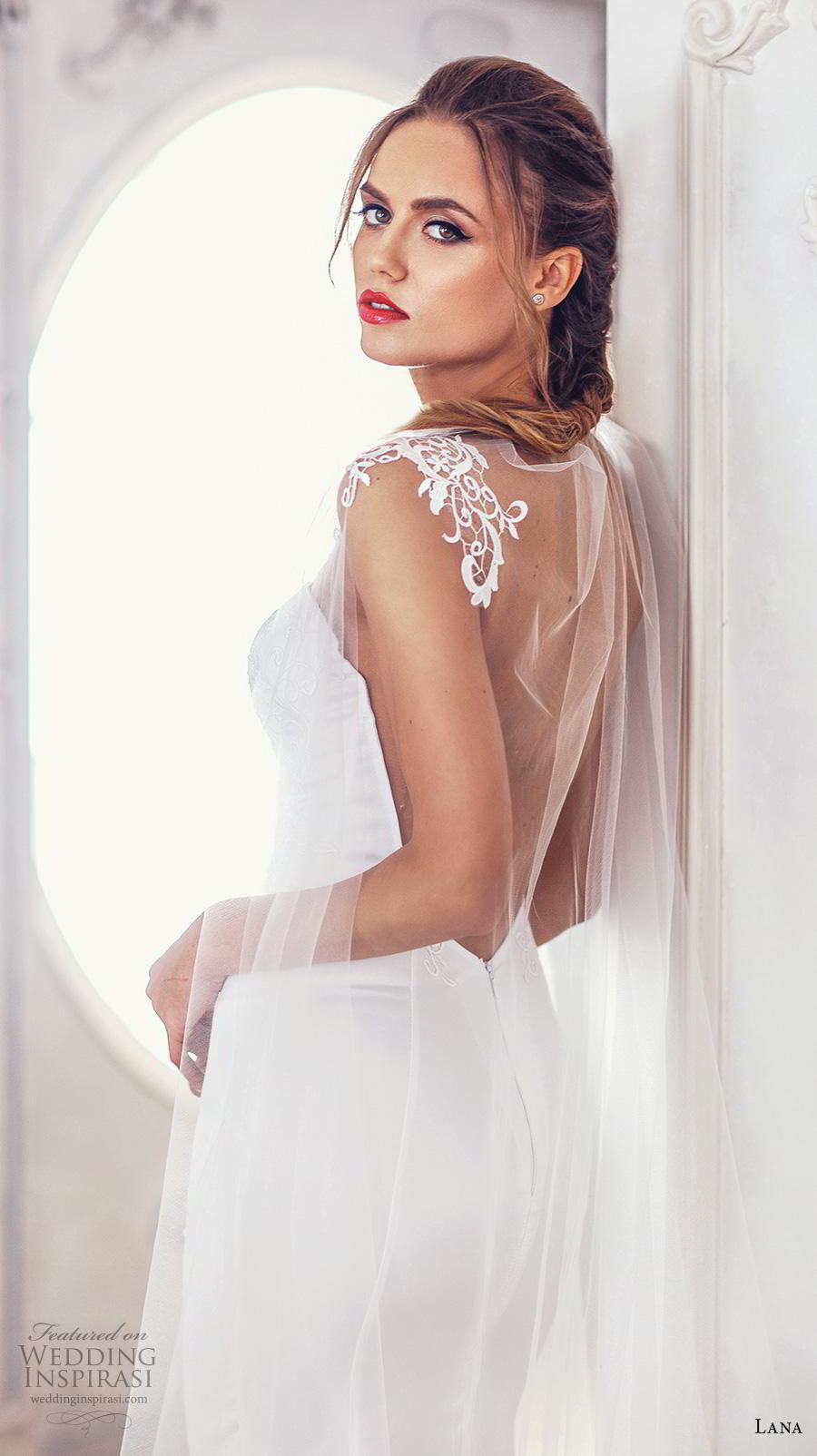 lana 2018 bridal long hanging sleeves bateau neck deep plunging sweetheart neckline lightly embellished bodice elegant sheath wedding dress sheer back sweep train (3) bv