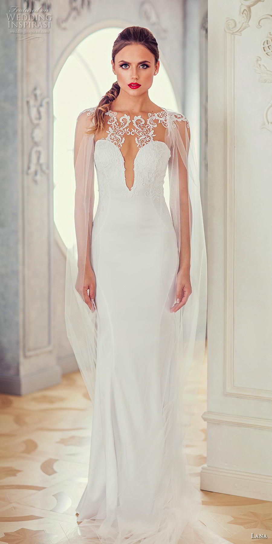 lana 2018 bridal long hanging sleeves bateau neck deep plunging sweetheart neckline lightly embellished bodice elegant sheath wedding dress sheer back sweep train (3) mv