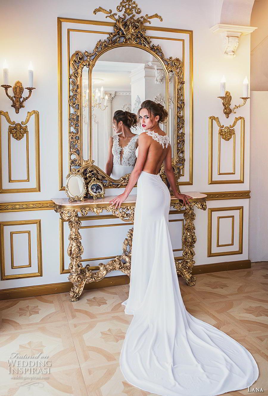 lana 2018 bridal sleeveless thick strap deep v neck heavily embellished bodice elegant sexy sheath wedding dress sheer back chapel train (7) bv