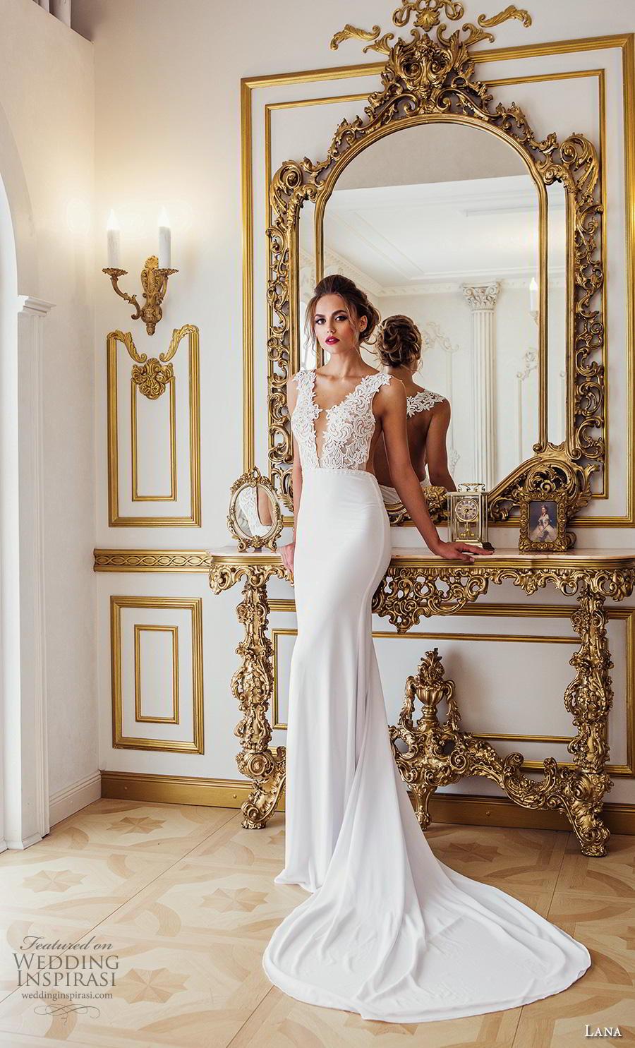 lana 2018 bridal sleeveless thick strap deep v neck heavily embellished bodice elegant sexy sheath wedding dress sheer back chapel train (7) mv
