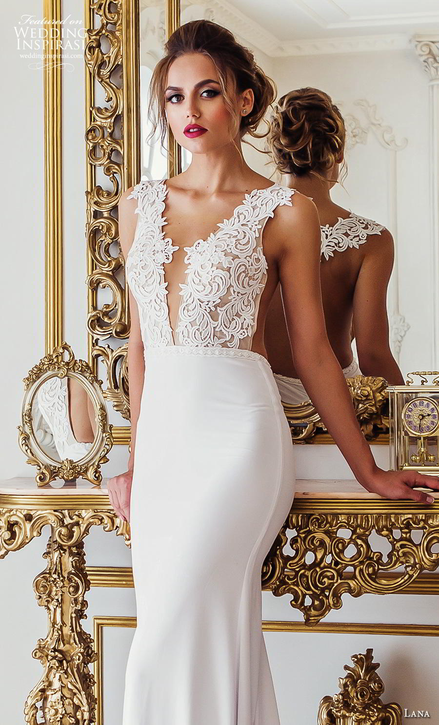 lana 2018 bridal sleeveless thick strap deep v neck heavily embellished bodice elegant sexy sheath wedding dress sheer back chapel train (7) zv