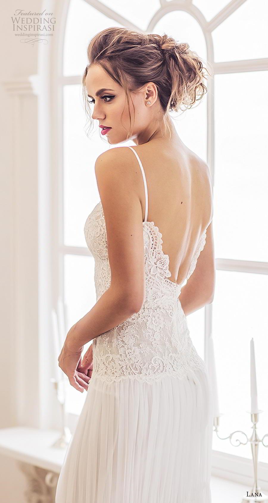 lana 2018 bridal spaghetti strap deep plunging sweetheart neckline heavily embellished bodice romantic sheath wedding dress backless v back sweep train (5) bv
