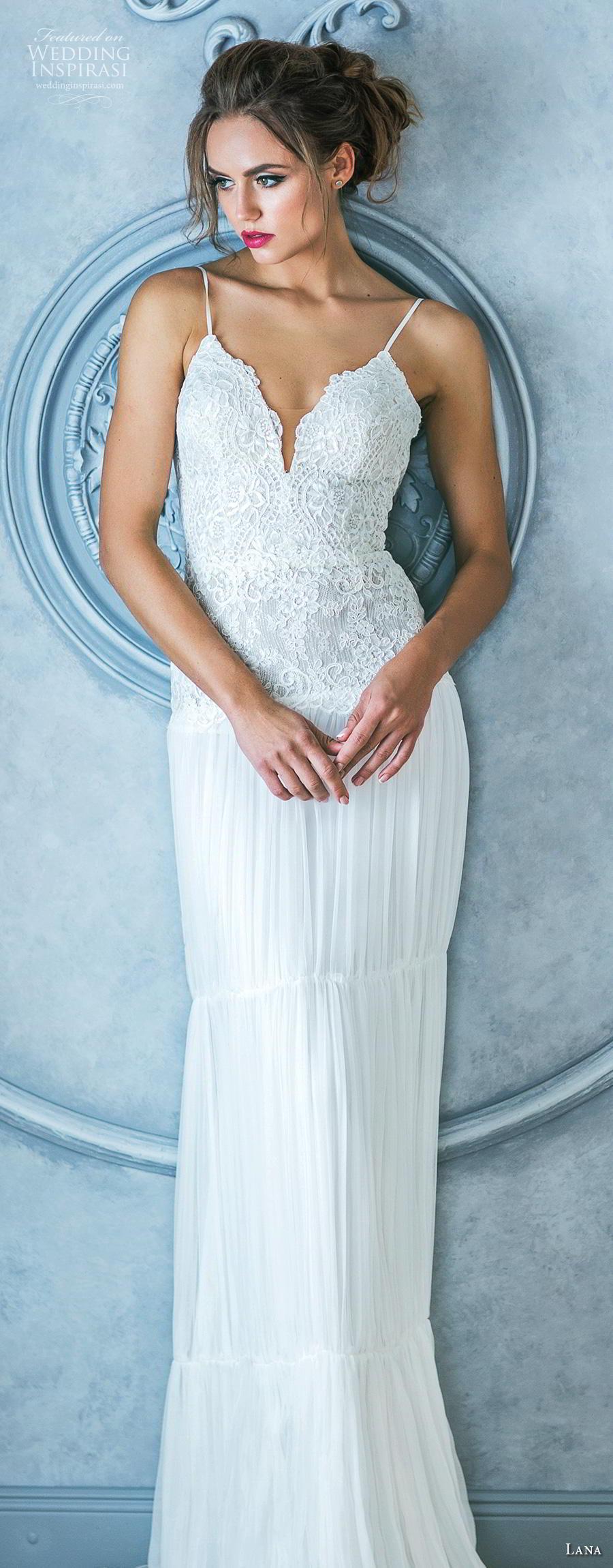 lana 2018 bridal spaghetti strap deep plunging sweetheart neckline heavily embellished bodice romantic sheath wedding dress backless v back sweep train (5) lv