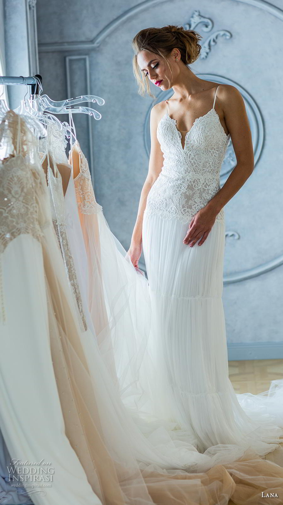 lana 2018 bridal spaghetti strap deep plunging sweetheart neckline heavily embellished bodice romantic sheath wedding dress backless v back sweep train (5) mv