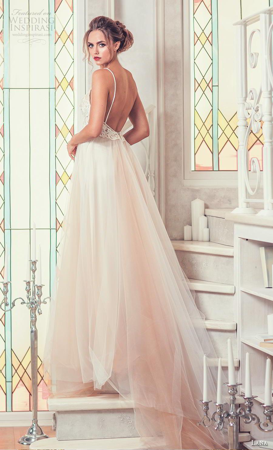 lana 2018 bridal spaghetti strap deep plunging sweetheart neckline heavily embellished bodice romantic soft a  line wedding dress backless open back chapel train (9)  bv