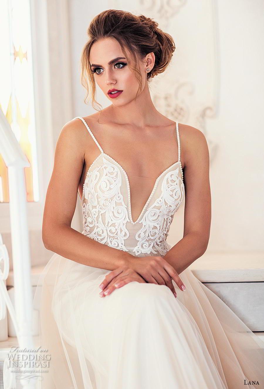 lana 2018 bridal spaghetti strap deep plunging sweetheart neckline heavily embellished bodice romantic soft a  line wedding dress backless open back chapel train (9) zv mv