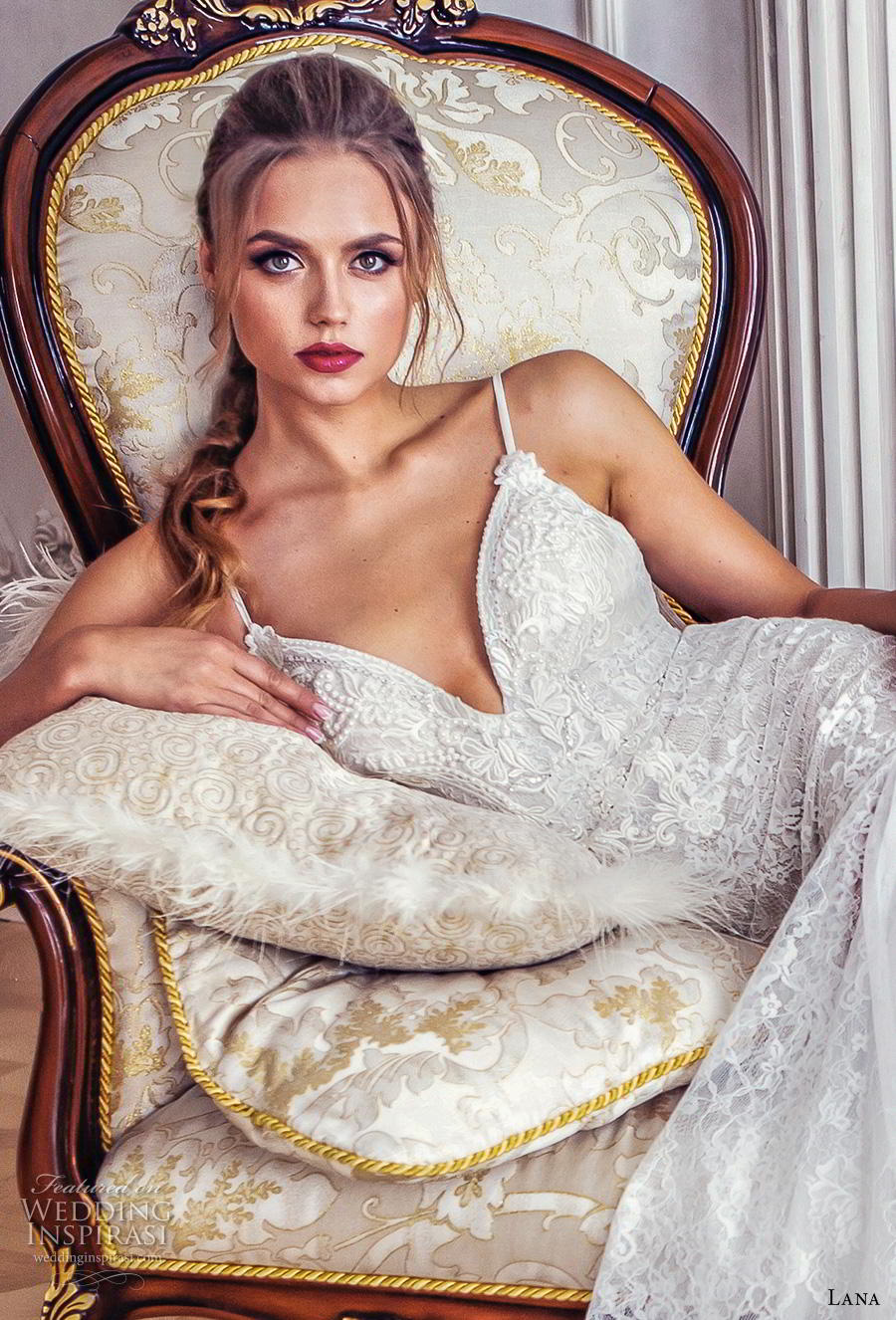 lana 2018 bridal spaghetti strap deep sweetheart neckline heavily embellished bodice drop waist elegant modified a  line wedding dress backless scoop back chapel train (8) zv