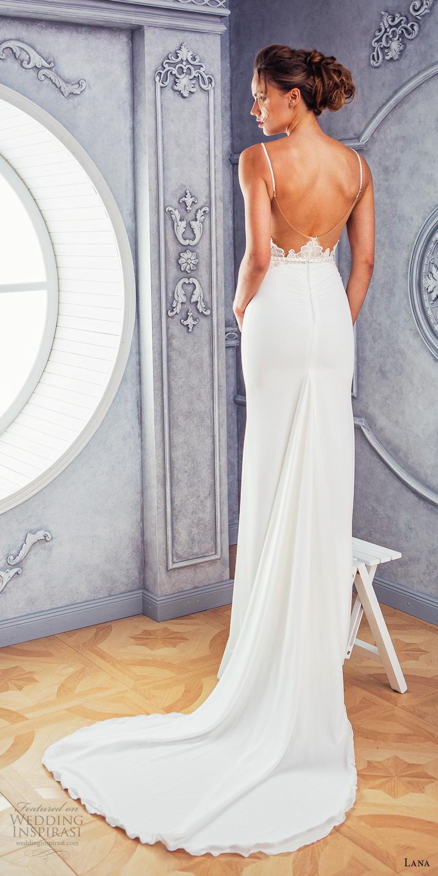 lana 2018 bridal spaghetti strap deep sweetheart neckline heavily embellished bodice satin skirt elegant sheath fit and flare wedding dress medium train (4) bv