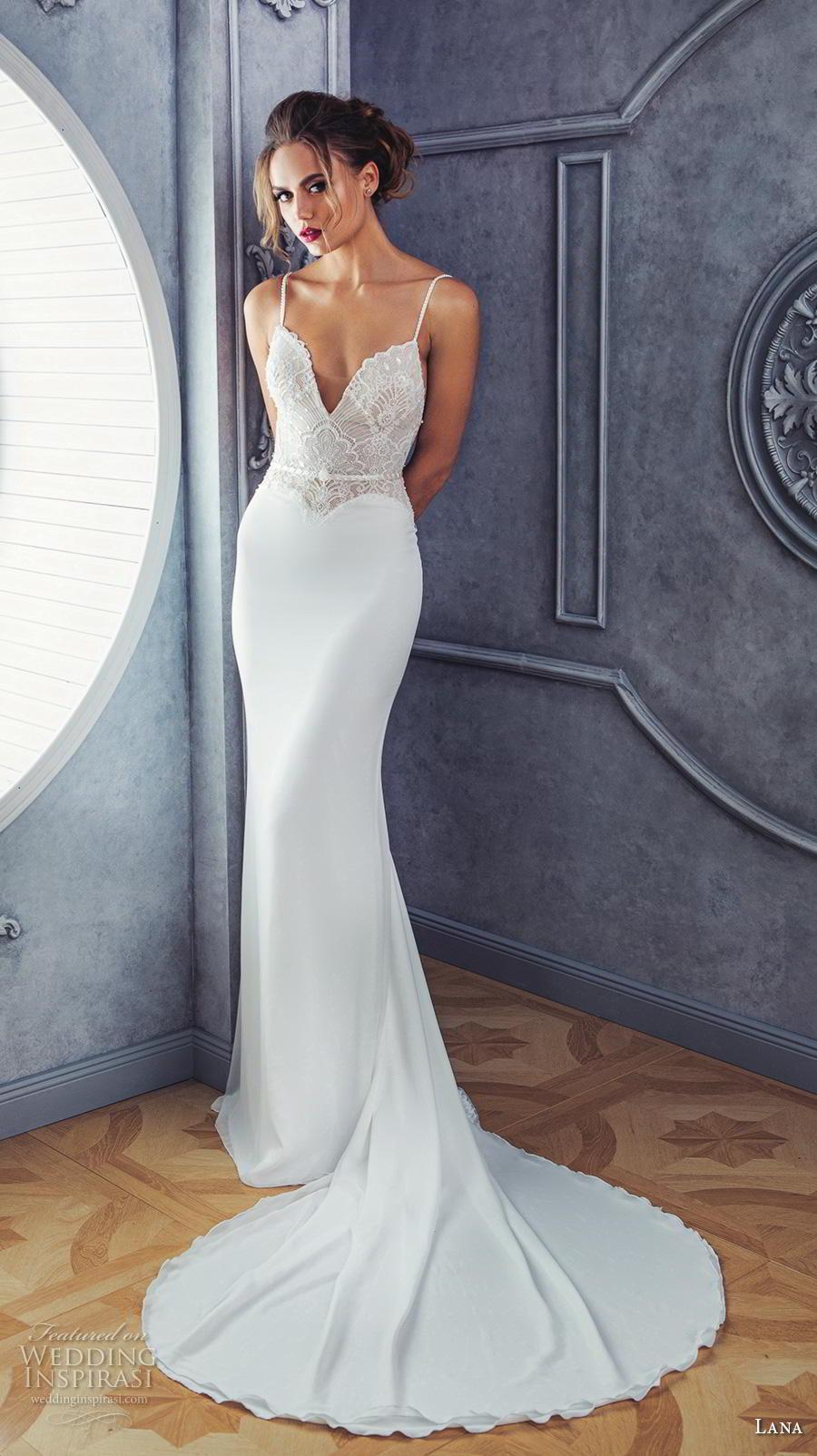 lana 2018 bridal spaghetti strap deep sweetheart neckline heavily embellished bodice satin skirt elegant sheath fit and flare wedding dress medium train (4) mv