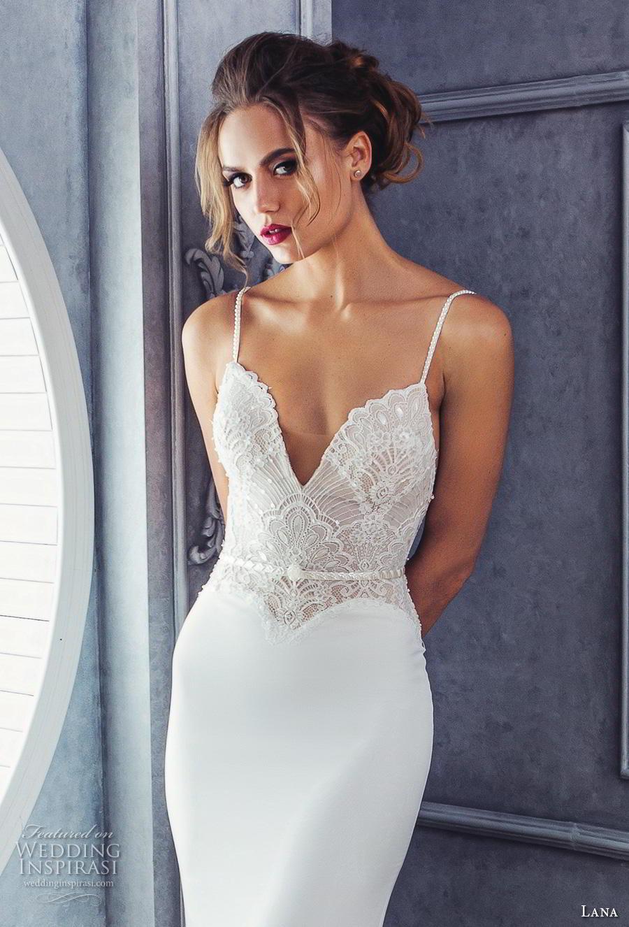 lana 2018 bridal spaghetti strap deep sweetheart neckline heavily embellished bodice satin skirt elegant sheath fit and flare wedding dress medium train (4) zv