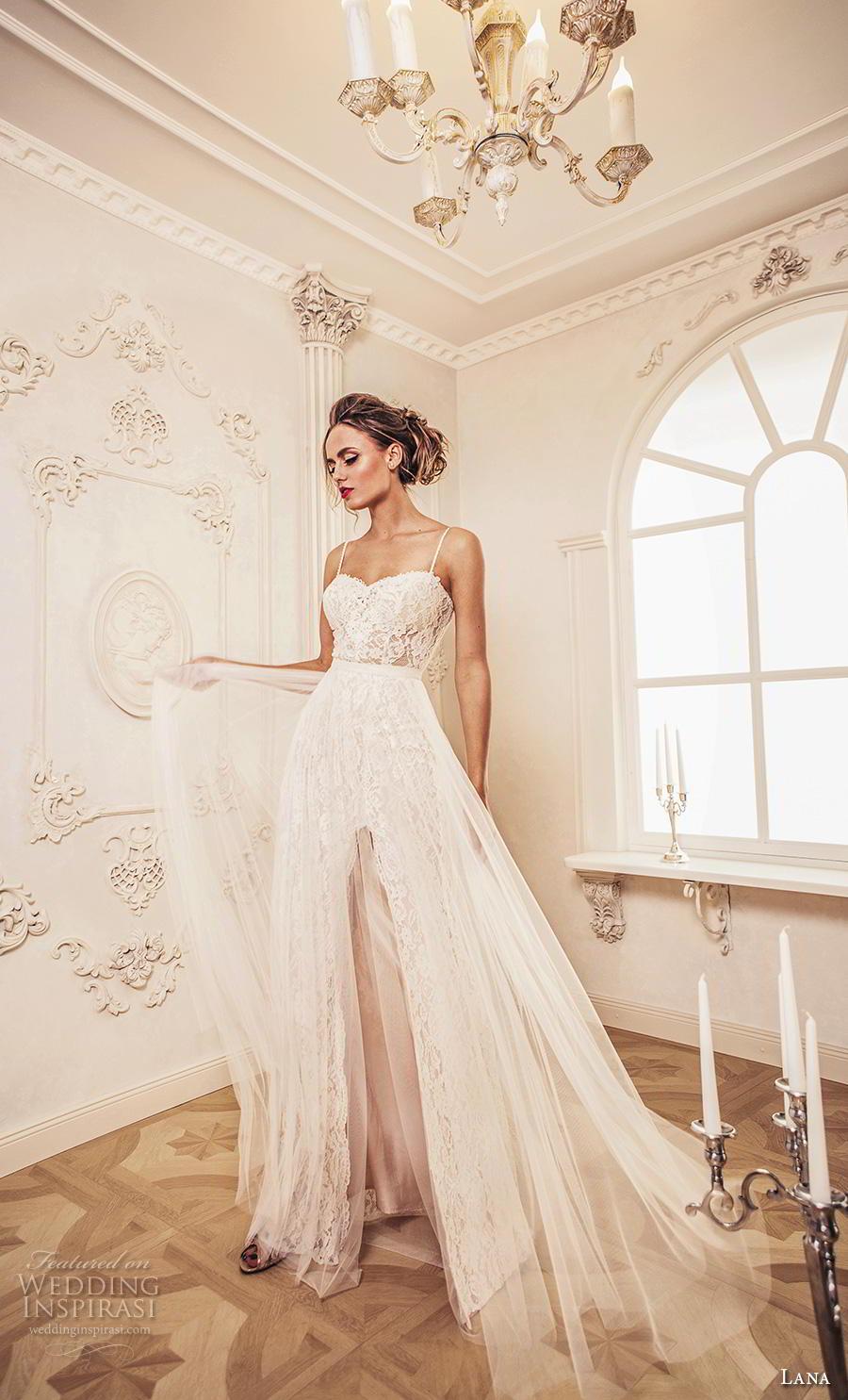 lana 2018 bridal spaghetti strap sweetheart neckline full embellishment slit skirt elegant romantic sheath wedding dress a  line overskirt open scoop back chapel train (10) mv