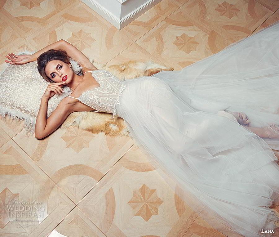 lana 2018 bridal spaghetti strap sweetheart neckline heavily embellished bodice tulle skirt romantic soft a  line wedding dress (2) mv