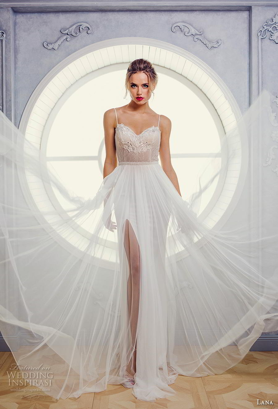 lana 2018 bridal spaghetti strap sweetheart neckline heavily embellished bodice tulle skirt romantic soft a  line wedding dress backless open back (1) mv
