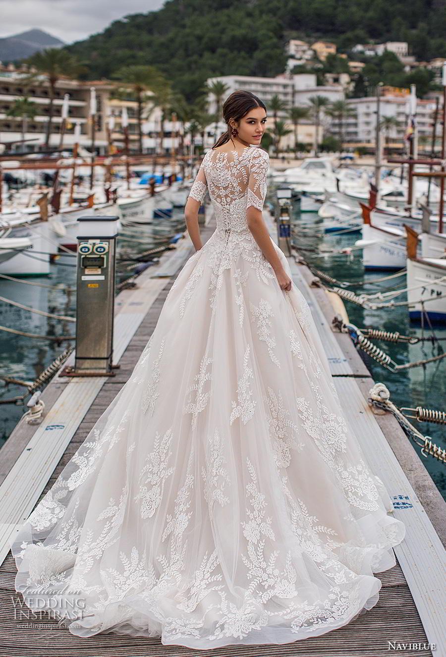 naviblue 2019 bridal half sleeves illusion bateau sweetheart neckline heavily embellished bodice hem a  line wedding dress lace back chapel train (14) bv
