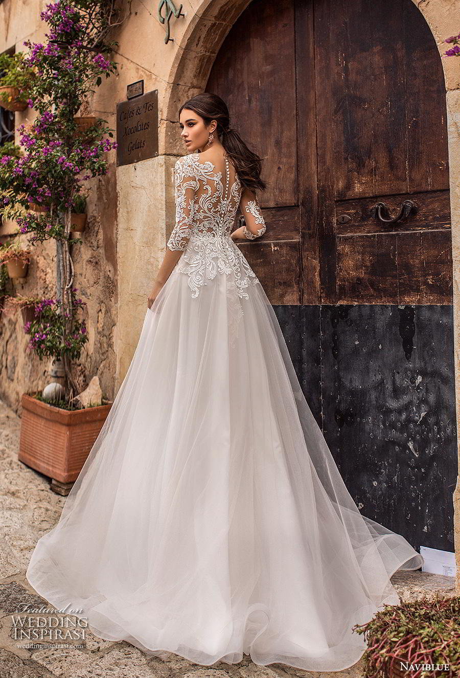 naviblue 2019 bridal half sleeves scoop neckline heavily embellished bodice romantic a  line wedding dress lace back sweep train (2) bv