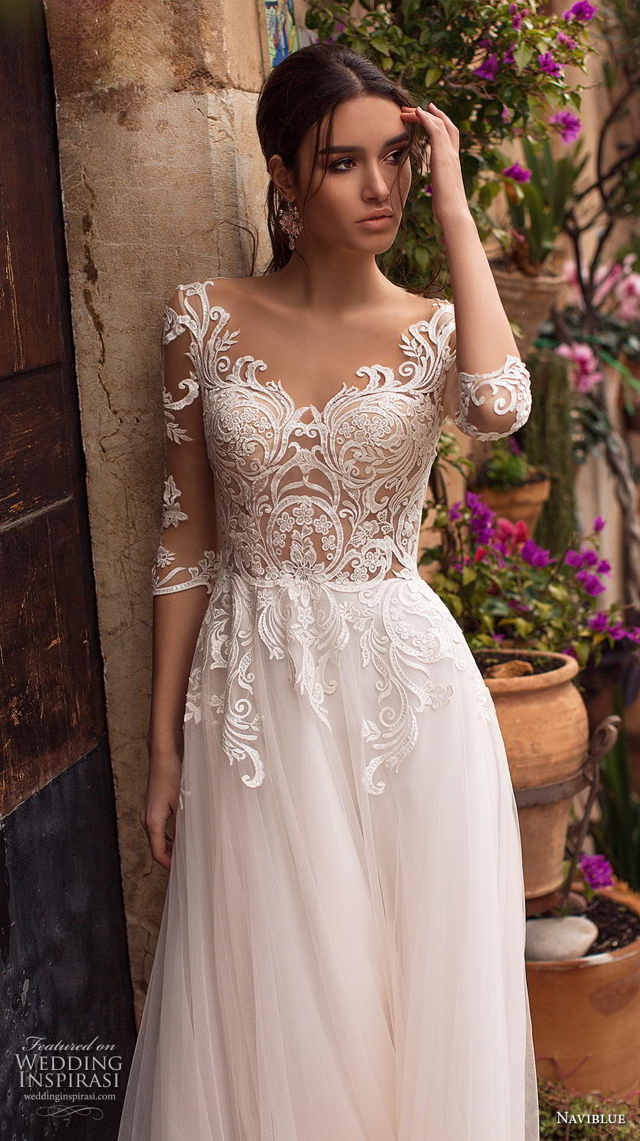 naviblue 2019 bridal half sleeves scoop neckline heavily embellished bodice romantic a  line wedding dress lace back sweep train (2) zv