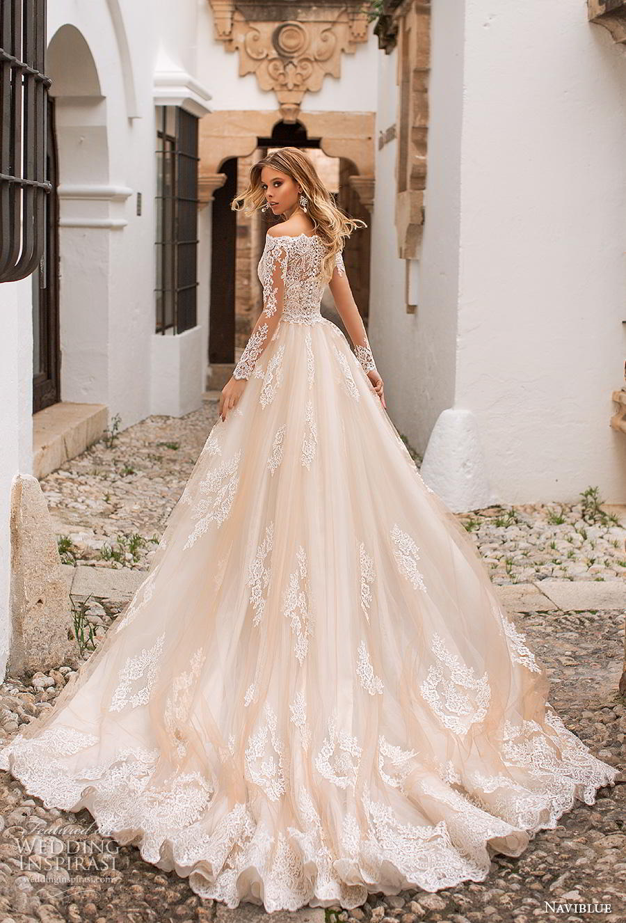 0e6ae3cfcf naviblue 2019 bridal long sleeves bateau neck full embellishment drop waist  champagne a line wedding dress