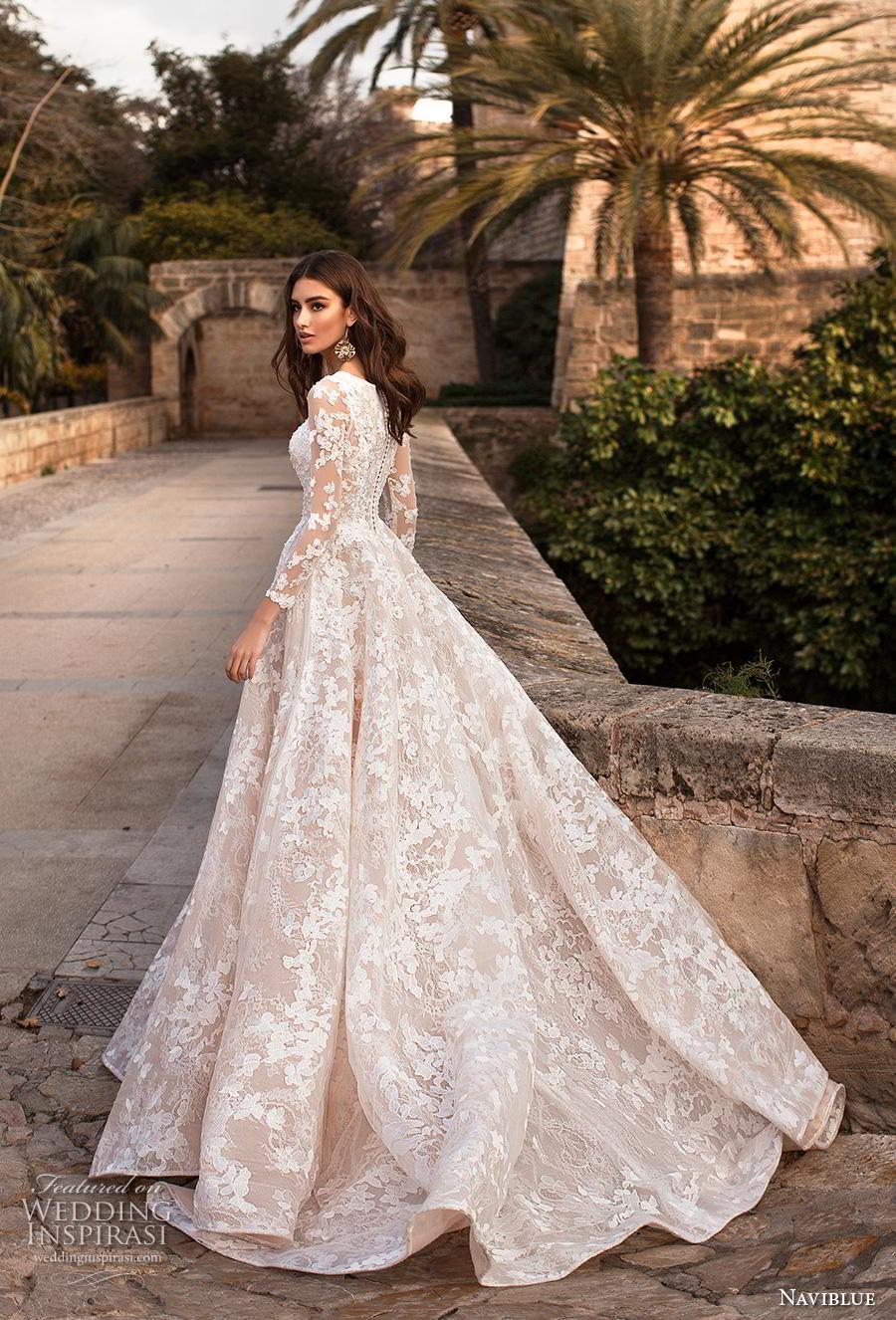 naviblue 2019 bridal long sleeves bateau neck full embellishment elegant modest a  line wedding dress covered lace back chapel train (15) bv