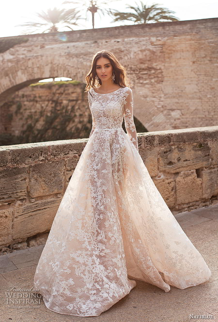 569a95cb078a naviblue 2019 bridal long sleeves bateau neck full embellishment elegant  modest a line wedding dress covered