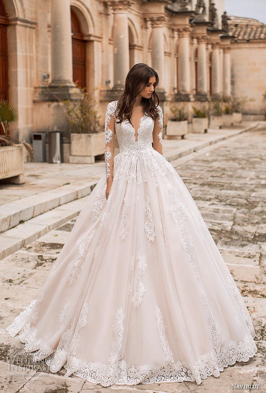 434f6707282 naviblue 2019 bridal long sleeves deep plunging v neck heavily embellished  bodice princess romantic a line