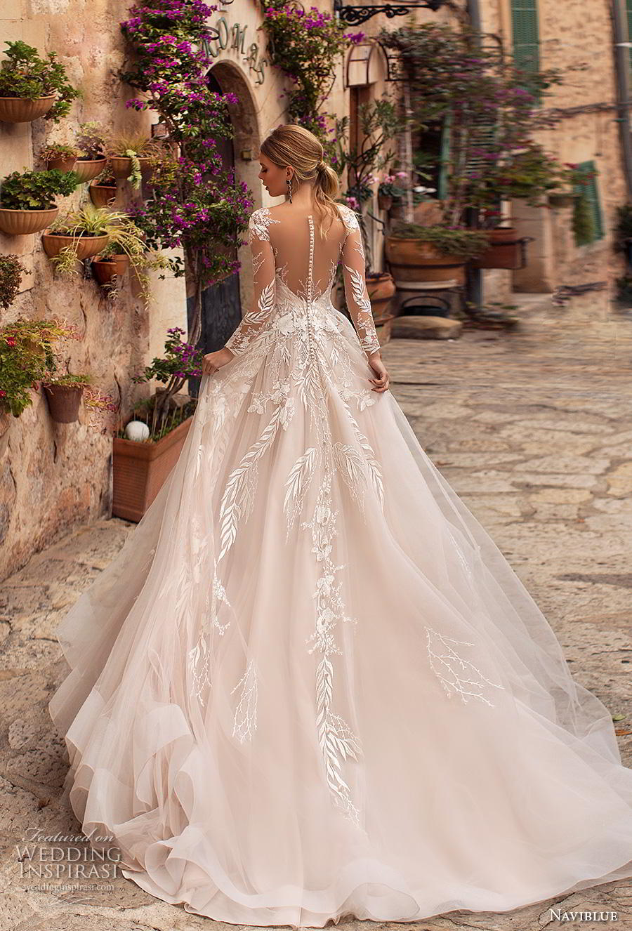 naviblue 2019 bridal long sleeves deep sweetheart neckline heavily embellished bodice romantic glamorous blush a  line wedding dress sheer button back chapel train (13) bv