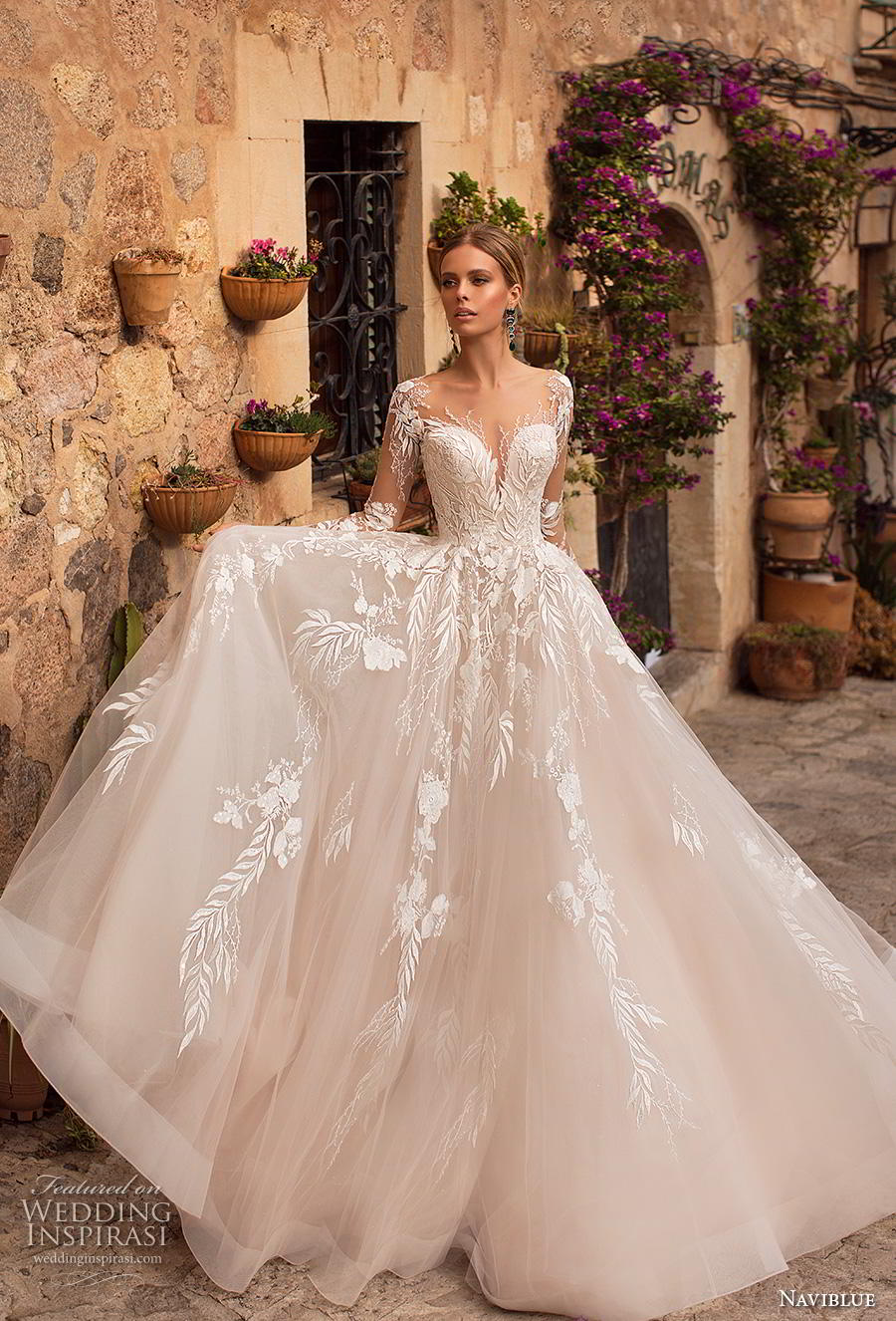 naviblue 2019 bridal long sleeves deep sweetheart neckline heavily embellished bodice romantic glamorous blush a  line wedding dress sheer button back chapel train (13) mv