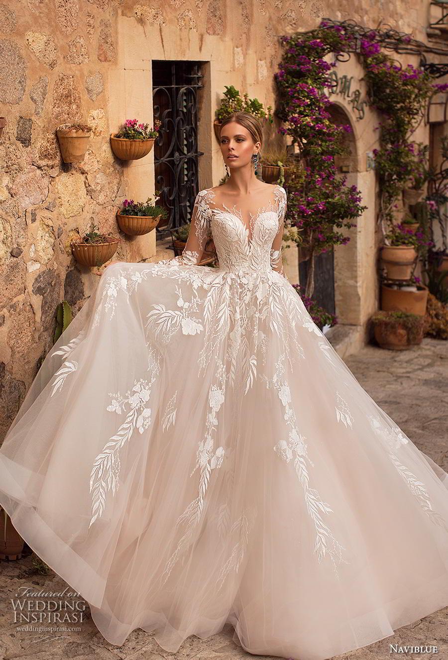 naviblue 2019 bridal long sleeves deep sweetheart neckline heavily embellished bodice romantic glamorous blush a line wedding dress sheer button back chapel train (13) mv