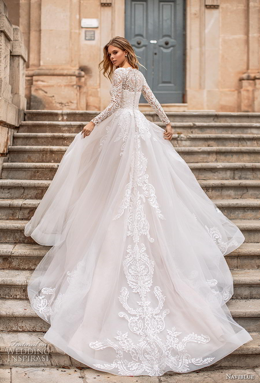 4e8a96ef877 naviblue 2019 bridal long sleeves illusion bateau straight across neckline heavily  embellished bodice romantic a line