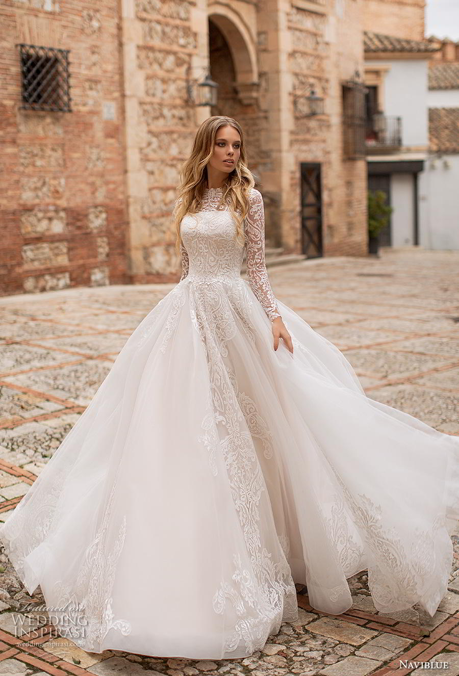 e9adac9f52 naviblue 2019 bridal long sleeves illusion bateau straight across neckline  heavily embellished bodice romantic a line