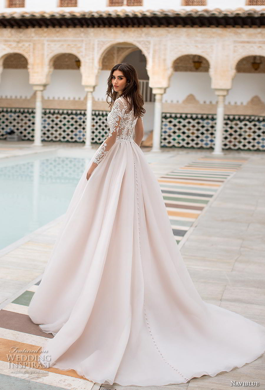 naviblue 2019 bridal long sleeves jewel neck heavily embellished bodice elegant a  line wedding dress covered lace back chapel train (9) bv