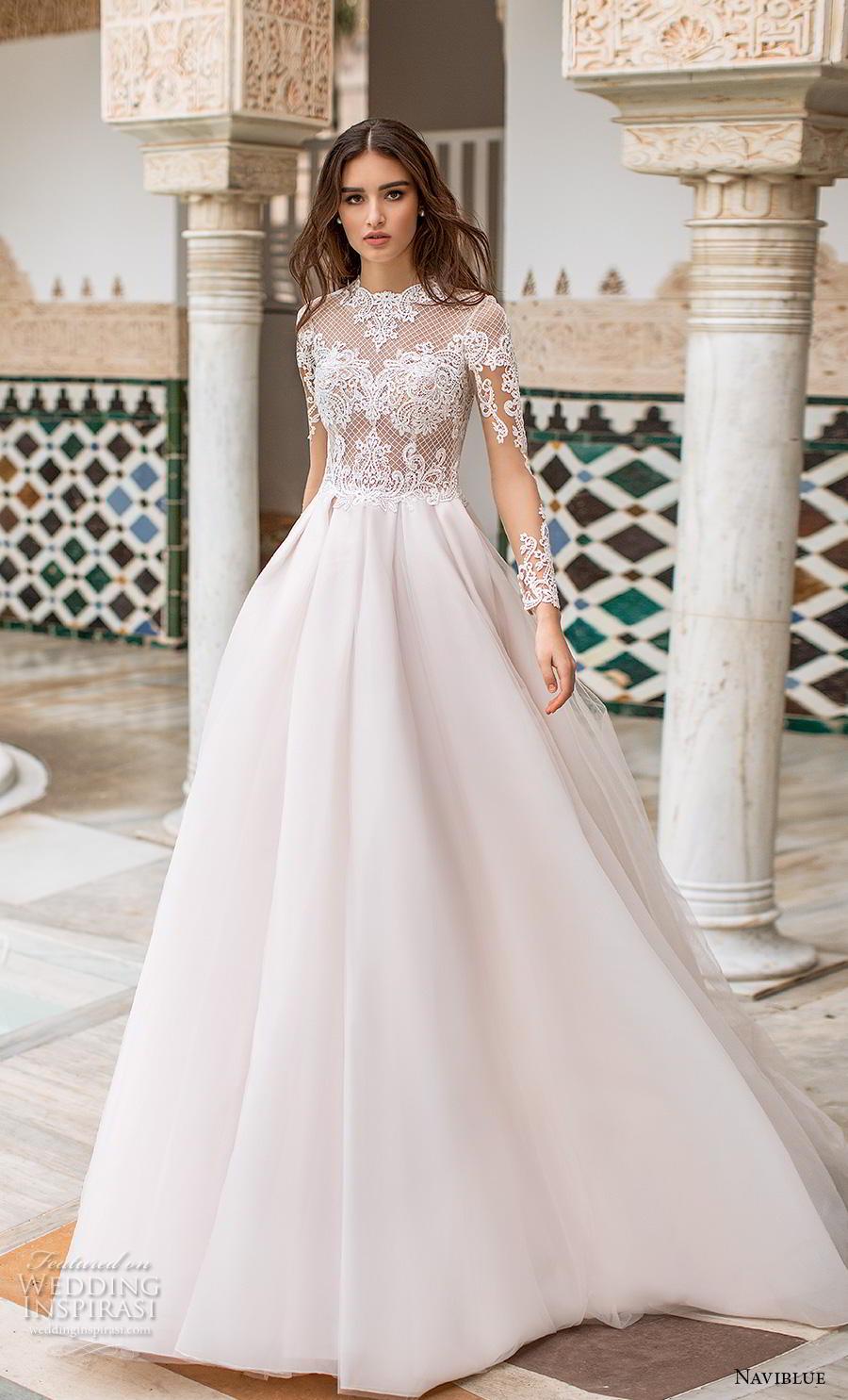 naviblue 2019 bridal long sleeves jewel neck heavily embellished bodice elegant a  line wedding dress covered lace back chapel train (9) mv