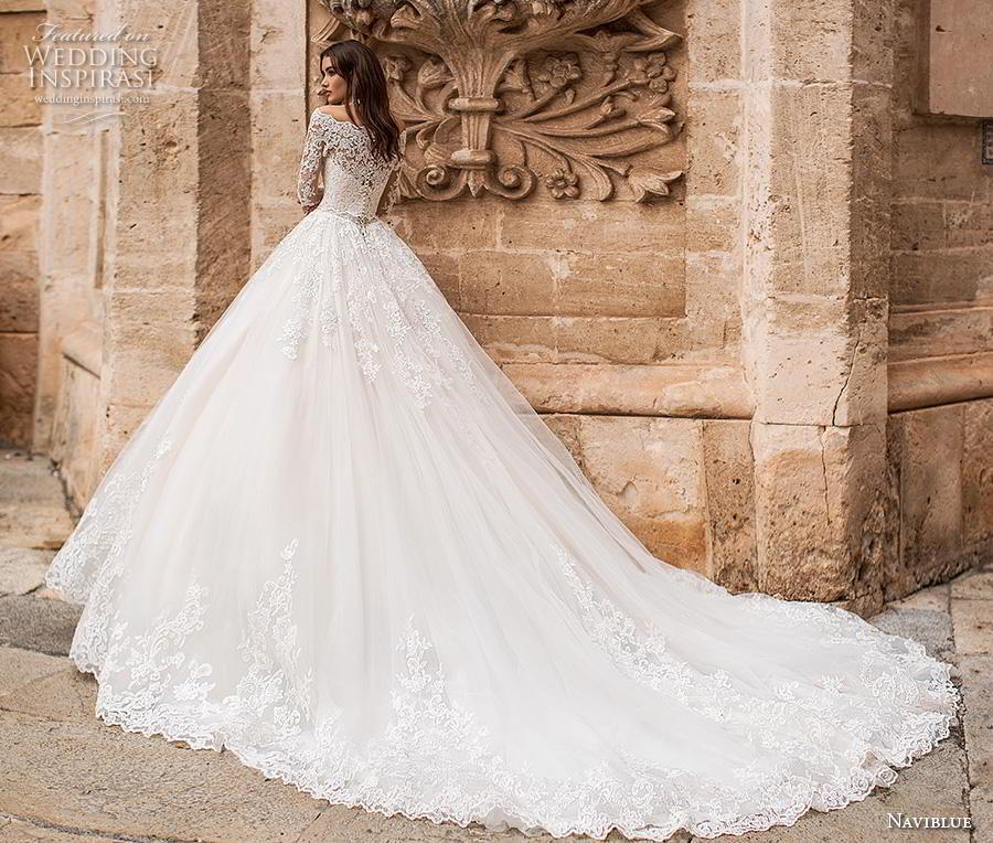 naviblue 2019 bridal long sleeves off the shoulder becjlie heavily embellished bodice hem princess ball gown a   line wedding dress lace back royal train (12) bv