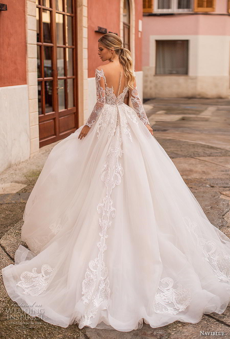 naviblue 2019 bridal long sleeves sweetheart neckline heavily embellished bodice princess ball gown a  line wedding dress sheer button back chapel train (3) bv