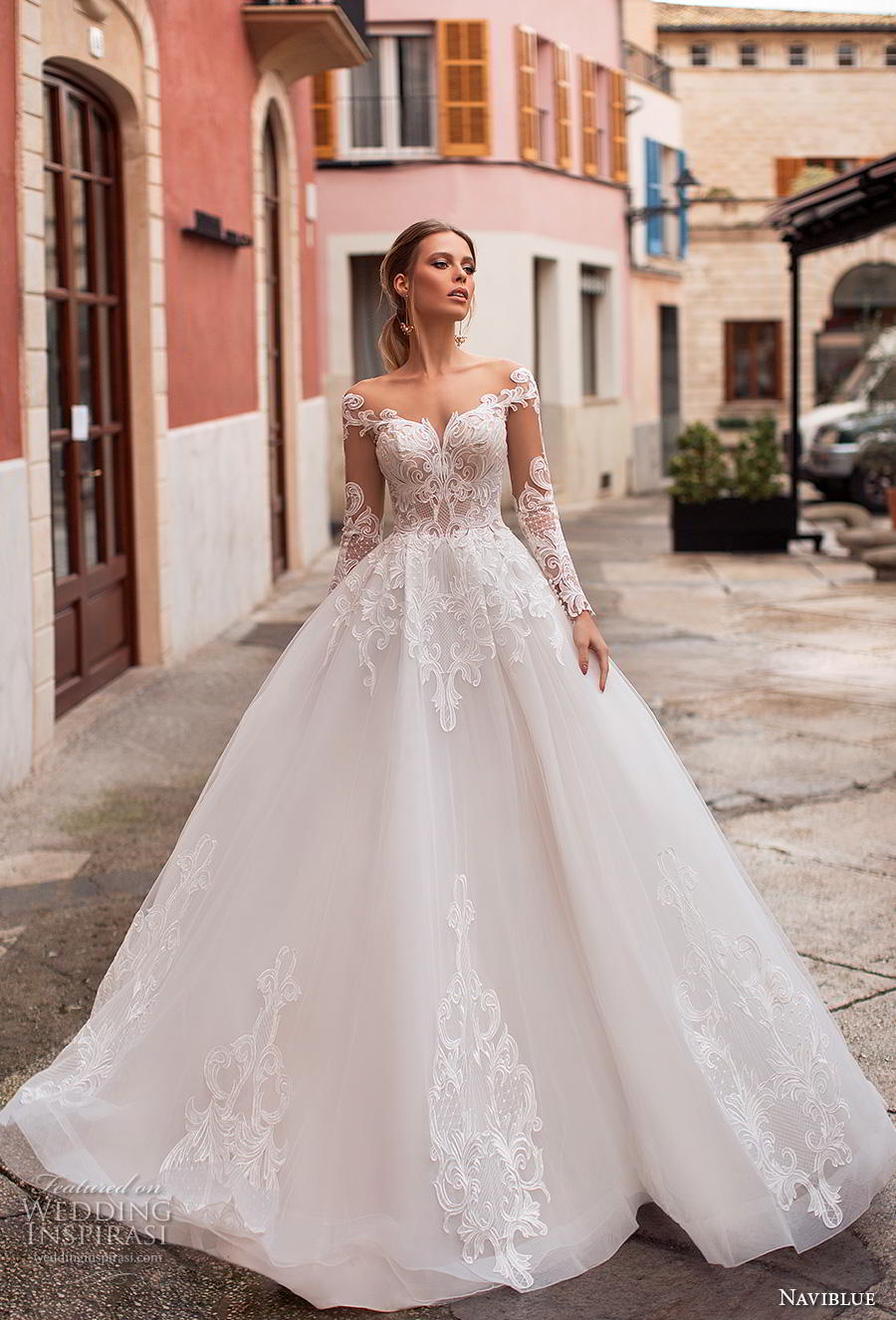 naviblue 2019 bridal long sleeves sweetheart neckline heavily embellished bodice princess ball gown a  line wedding dress sheer button back chapel train (3) mv