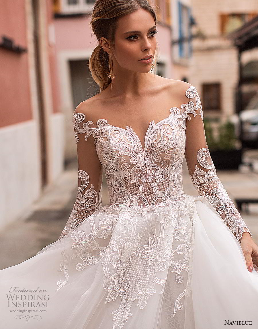 naviblue 2019 bridal long sleeves sweetheart neckline heavily embellished bodice princess ball gown a  line wedding dress sheer button back chapel train (3) zv