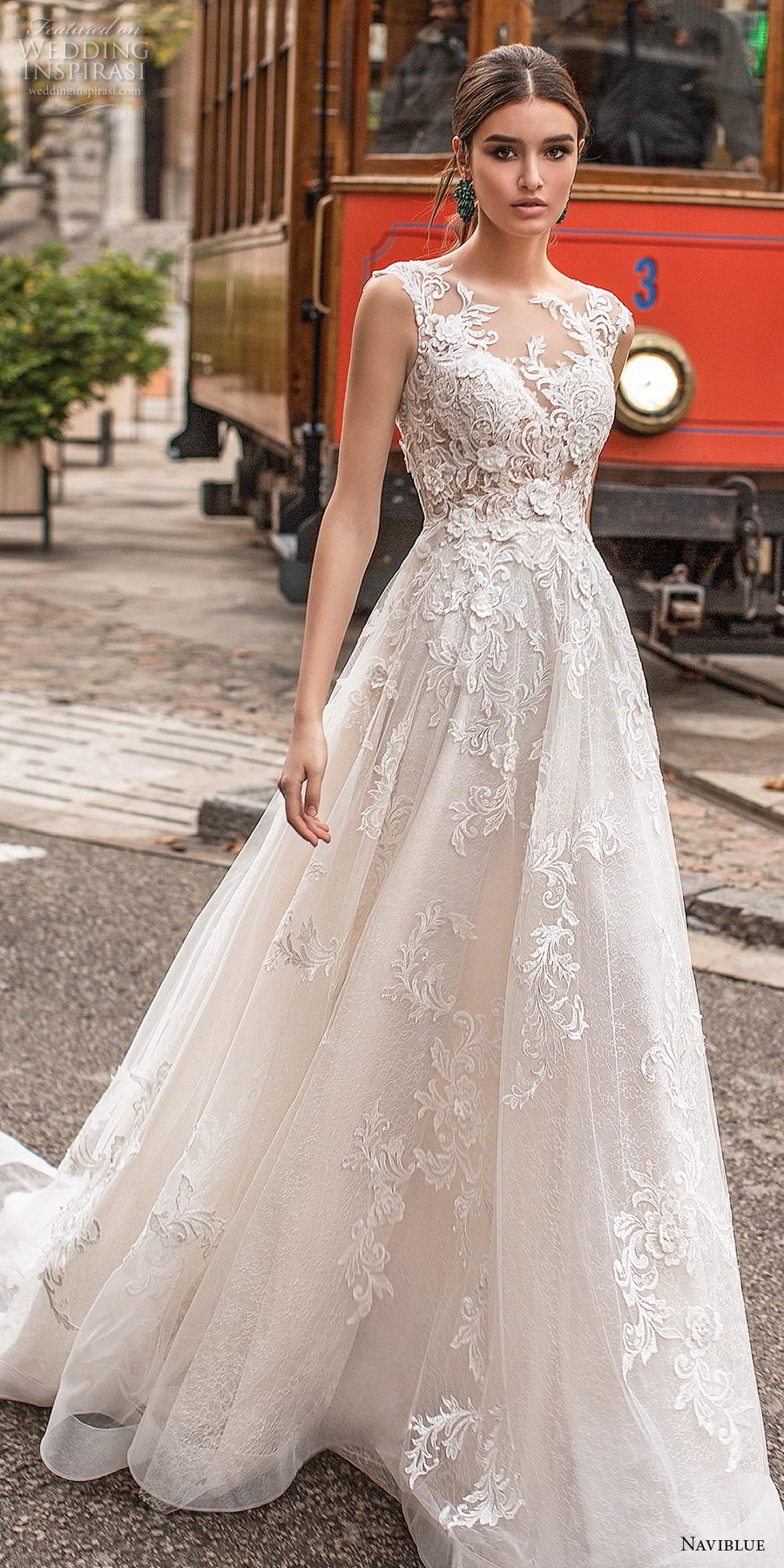 naviblue 2019 bridal sleeveless illusion bateau neck full embellishment elegant a  line wedding dress sheer button lace back chapel train (6) lv