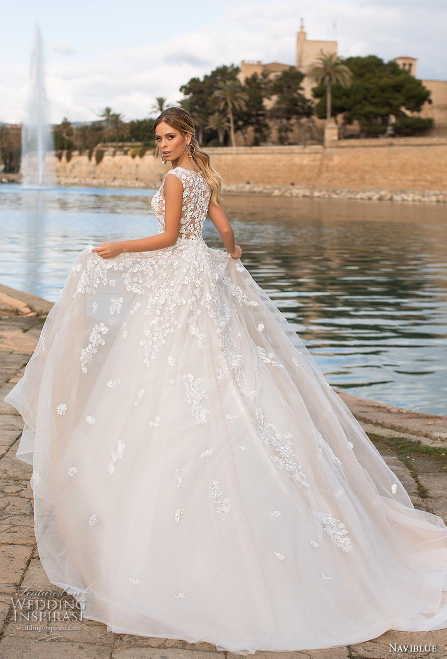 naviblue 2019 bridal sleeveless jewel neckline heavily embellished bodice romantic a  line wedding dress covered lace back chapel train (16) bv