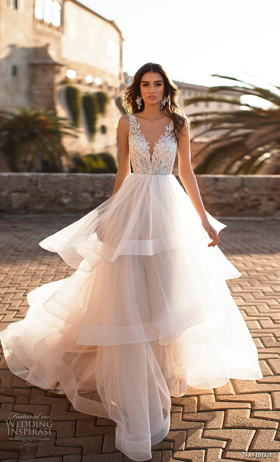 naviblue 2019 bridal sleeveless v neck heavily embellished bodice tiered skirt romantic a  line wedding dress backless v back chapel train (4) mv