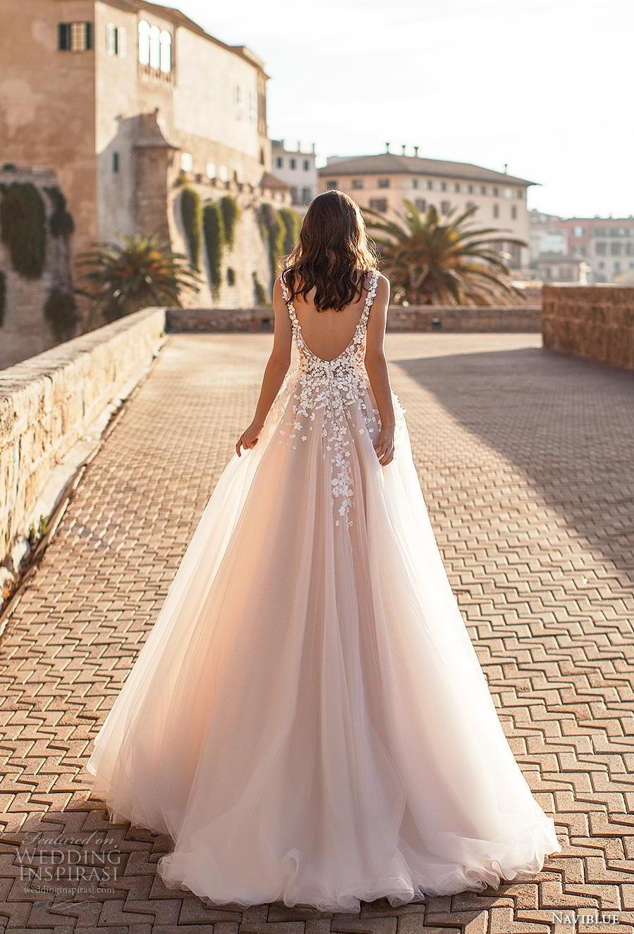 naviblue 2019 bridal sleeveless v neck heavily embellished bodice tulle skirt romantic blush a  line wedding dress backless sweep train (1) bv